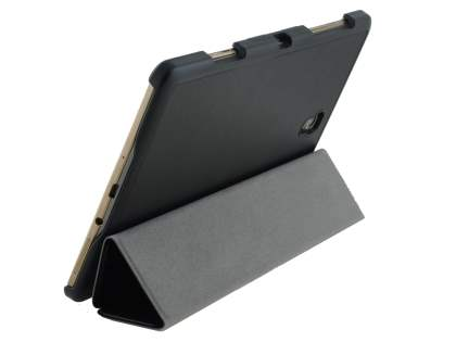 Premium Slim Synthetic Leather Flip Case with Stand for Samsung Galaxy Tab S 8.4 - Classic Black Leather Flip Case