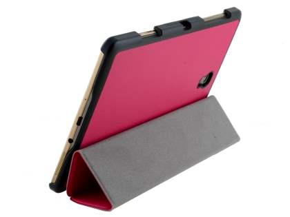 Premium Slim Synthetic Leather Flip Case with Stand for Samsung Galaxy Tab S 8.4 - Hot Pink