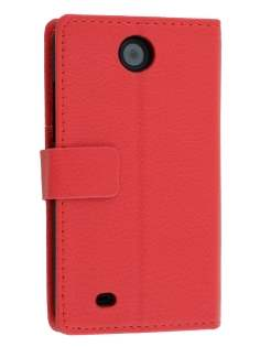 Synthetic Leather Wallet Case with Stand for HTC Desire 300 - Red Leather Wallet Case
