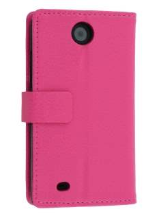 Synthetic Leather Wallet Case with Stand for HTC Desire 300 - Pink Leather Wallet Case