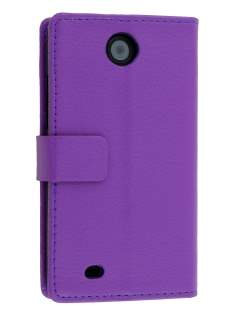 Synthetic Leather Wallet Case with Stand for HTC Desire 300 - Purple Leather Wallet Case