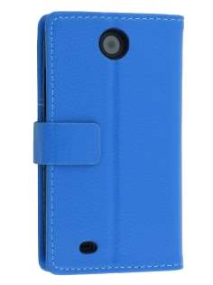 Synthetic Leather Wallet Case with Stand for HTC Desire 300 - Blue Leather Wallet Case