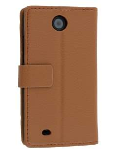 Synthetic Leather Wallet Case with Stand for HTC Desire 300 - Brown Leather Wallet Case