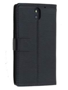 HTC Desire 610 Slim Synthetic Leather Wallet Case with Stand - Classic Black Leather Wallet Case