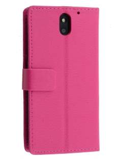 Synthetic Leather Wallet Case with Stand for HTC Desire 610 - Pink Leather Wallet Case