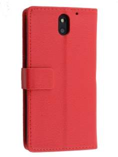 HTC Desire 610 Slim Synthetic Leather Wallet Case with Stand - Red