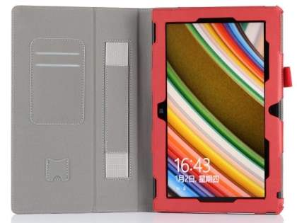 Nokia Lumia 2520 Synthetic Leather Flip Case with Fold-Back Stand - Red
