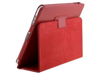 iPad 1st Gen Synthetic Leather Flip Case with Fold-Back Stand - Red Leather Flip Case