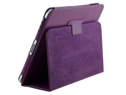 Synthetic Leather Flip Case with Fold-Back Stand for iPad 1st Gen - Purple Leather Flip Case