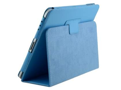 iPad 1st Gen Synthetic Leather Flip Case with Fold-Back Stand - Sky Blue Leather Flip Case