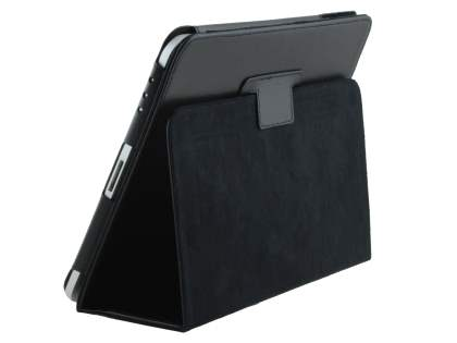 iPad 1st Gen Synthetic Leather Flip Case with Fold-Back Stand - Classic Black Leather Flip Case