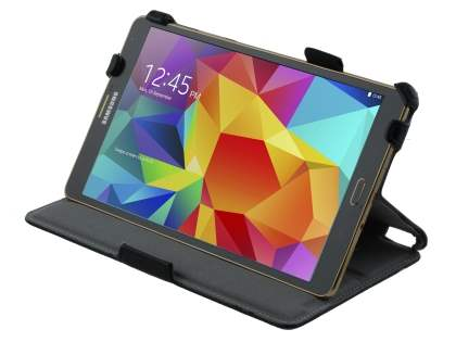 Samsung Galaxy Tab S 8.4 Slim Synthetic Leather Flip Case with Multi-Angle Tilt Stand - Classic Black