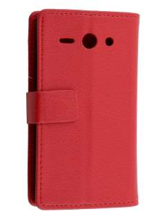 Huawei Ascend Y530 Slim Synthetic Leather Wallet Case with Stand - Red Leather Wallet Case