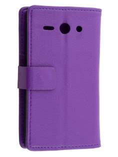 Huawei Ascend Y530 Slim Synthetic Leather Wallet Case with Stand - Purple Leather Wallet Case