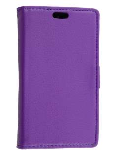Huawei Ascend Y530 Slim Synthetic Leather Wallet Case with Stand - Purple