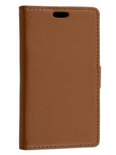 Huawei Ascend Y530 Slim Synthetic Leather Wallet Case with Stand - Coffee