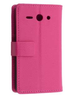 Huawei Ascend Y530 Slim Synthetic Leather Wallet Case with Stand - Pink Leather Wallet Case