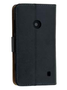 Nokia Lumia 520 Slim Genuine Leather Wallet Case - Classic Black Leather Wallet Case