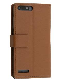 Huawei Ascend G6 4G Synthetic Leather Wallet Case with Stand - Brown Leather Wallet Case