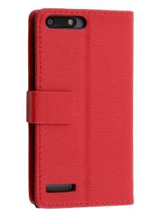 Huawei Ascend G6 4G Synthetic Leather Wallet Case with Stand - Red Leather Wallet Case