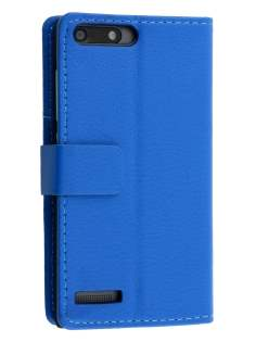 Synthetic Leather Wallet Case with Stand for Huawei Ascend G6 4G - Blue