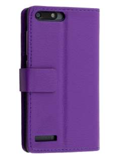 Huawei Ascend G6 4G Synthetic Leather Wallet Case with Stand - Purple Leather Wallet Case