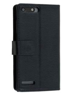 Huawei Ascend G6 4G Synthetic Leather Wallet Case with Stand - Classic Black Leather Wallet Case