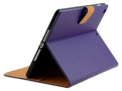 Premium Genuine Leather Case with Stand for iPad Air 1st Gen - Dark Purple Leather Flip Case
