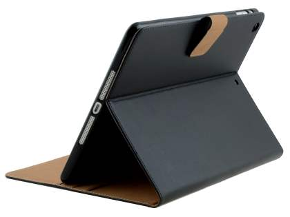 Premium Genuine Leather Case with Stand for iPad Air 1st Gen - Classic Black Leather Flip Case