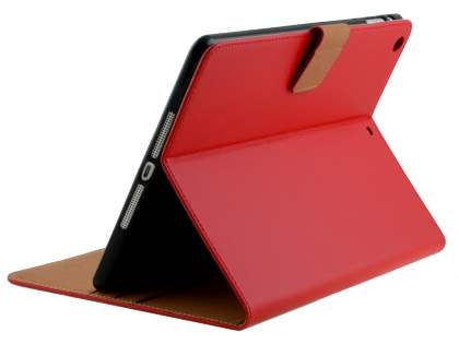 Premium Genuine Leather Case with Stand for iPad Air 1st Gen - Red Leather Flip Case