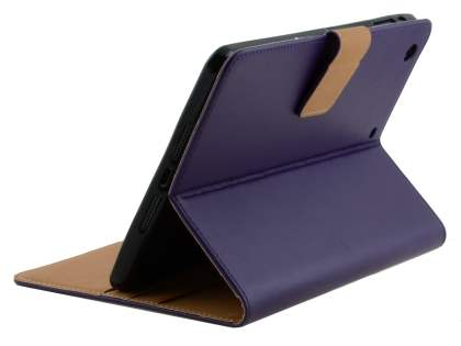 Premium Genuine Leather Case with Stand for iPad mini 1/2/3 - Dark Purple Leather Flip Case