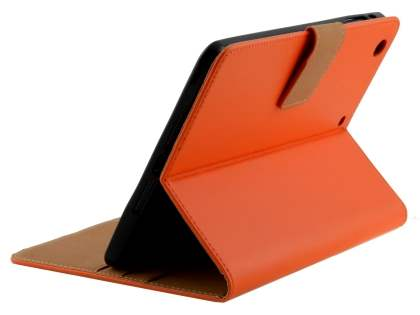 Premium Genuine Leather Case with Stand for iPad mini 1/2/3 - Orange Leather Flip Case