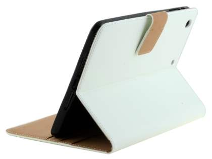 Premium Genuine Leather Case with Stand for iPad mini 1/2/3 - Pearl White Leather Flip Case