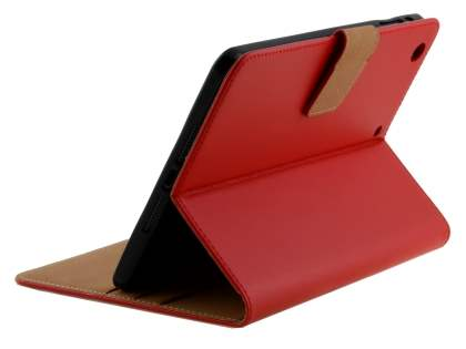 Premium Genuine Leather Case with Stand for iPad mini 1/2/3 - Red Leather Flip Case