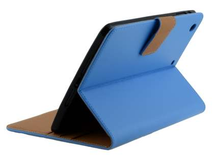 Premium Genuine Leather Case with Stand for iPad mini 1/2/3 - Sky Blue Leather Flip Case