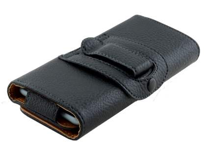 Synthetic Leather Belt Pouch (Bumper Case Compatible) - Classic Black