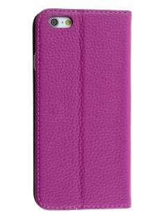 Genuine Textured Leather Wallet Case with Stand for iPhone 6s/6 - Light Purple