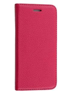 Slim iPhone 6s/6 4.7 inches Genuine Textured Leather Wallet Case with Stand - Coral Pink