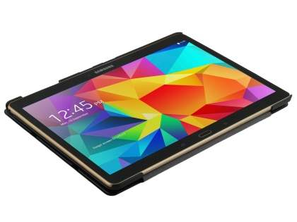 Premium Slim Synthetic Leather Flip Case with Stand for Samsung Galaxy Tab S 10.5 - Classic Black
