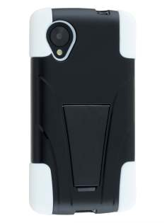 Defender Case with Stand for LG Google Nexus 5 - Classic Black/White Impact Case