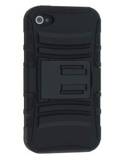 Rugged Case with Holster Belt Clip for iPhone 4/4s - Classic Black Impact Case