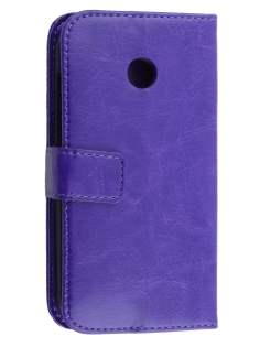 Synthetic Leather Wallet Case with Stand for Motorola Moto E 1st Gen - Purple Leather Wallet Case