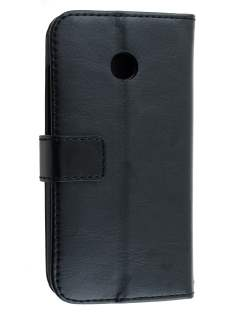 Synthetic Leather Wallet Case with Stand for Motorola Moto E 1st Gen - Classic Black Leather Wallet Case