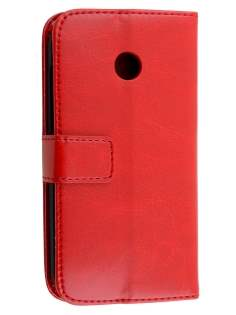 Synthetic Leather Wallet Case with Stand for Motorola Moto E 1st Gen - Red Leather Wallet Case