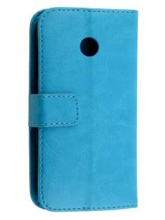 Synthetic Leather Wallet Case with Stand for Motorola Moto E 1st Gen - Aqua Leather Wallet Case