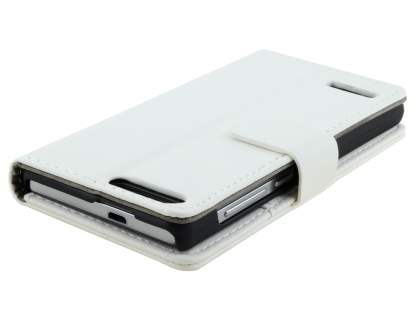 Huawei Ascend G6 4G Synthetic Leather Wallet Case with Stand - Pearl White