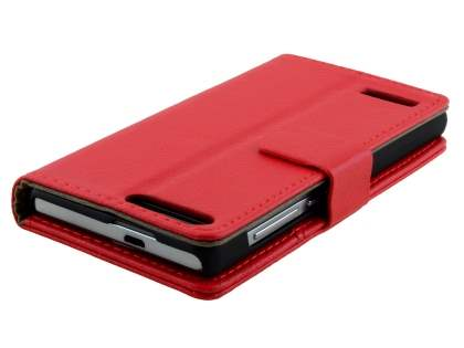Synthetic Leather Wallet Case with Stand for Huawei Ascend G6 4G - Red