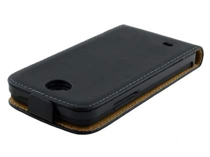 HTC Desire 300 Slim Genuine Leather Flip Case - Classic Black