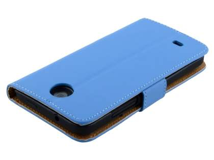 HTC Desire 300 Slim Genuine Leather Wallet Case - Sky Blue