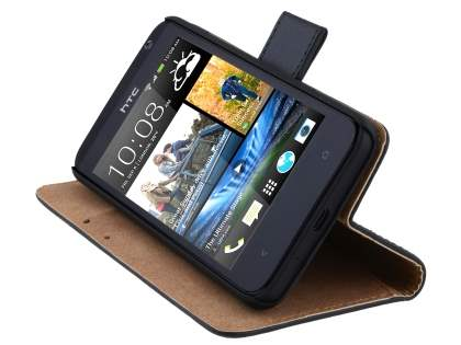 HTC Desire 300 Slim Genuine Leather Wallet Case - Classic Black